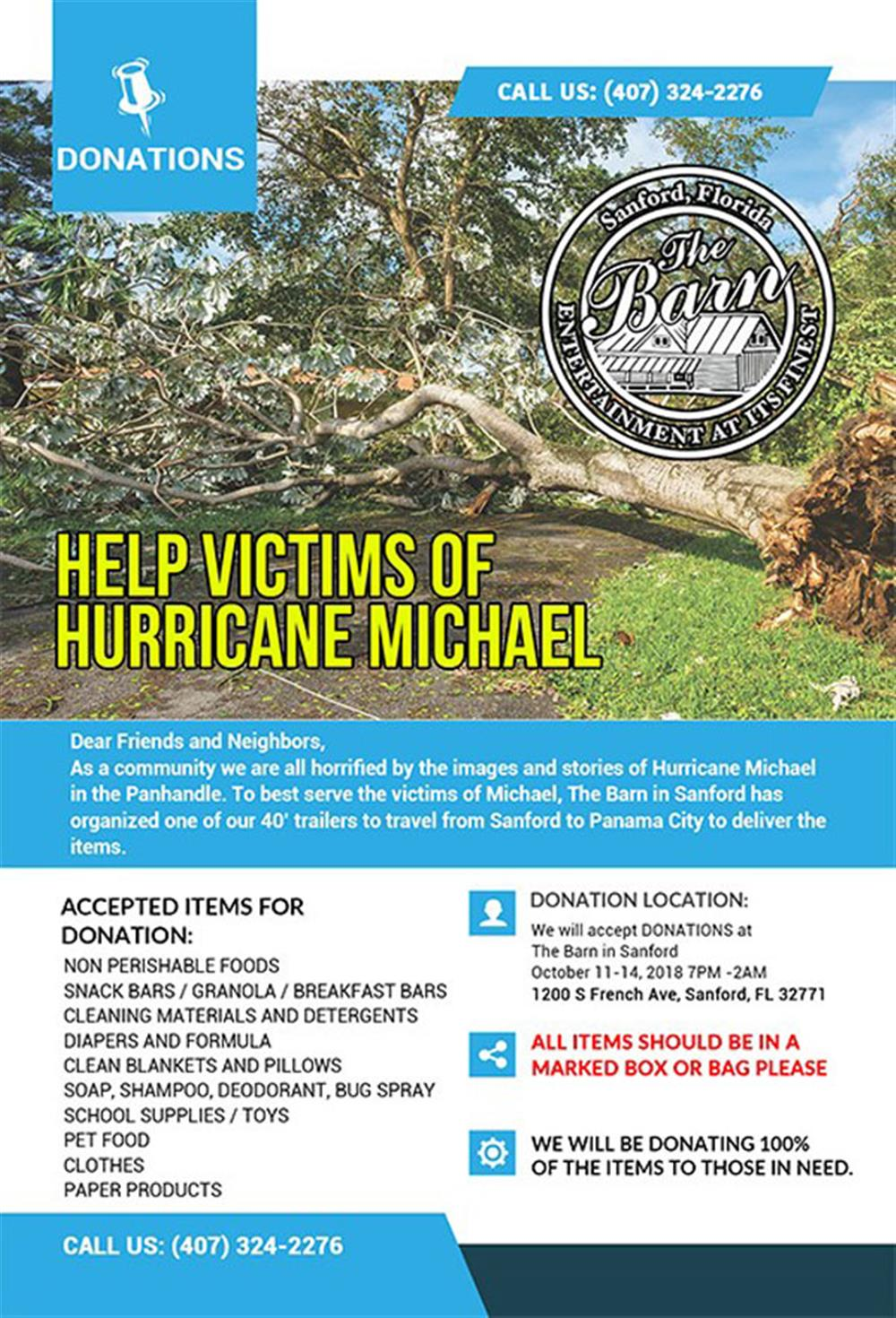 The Barn's Hurricane Michael Charity: Coming Together to Help the Victims of Hurricane Michael
